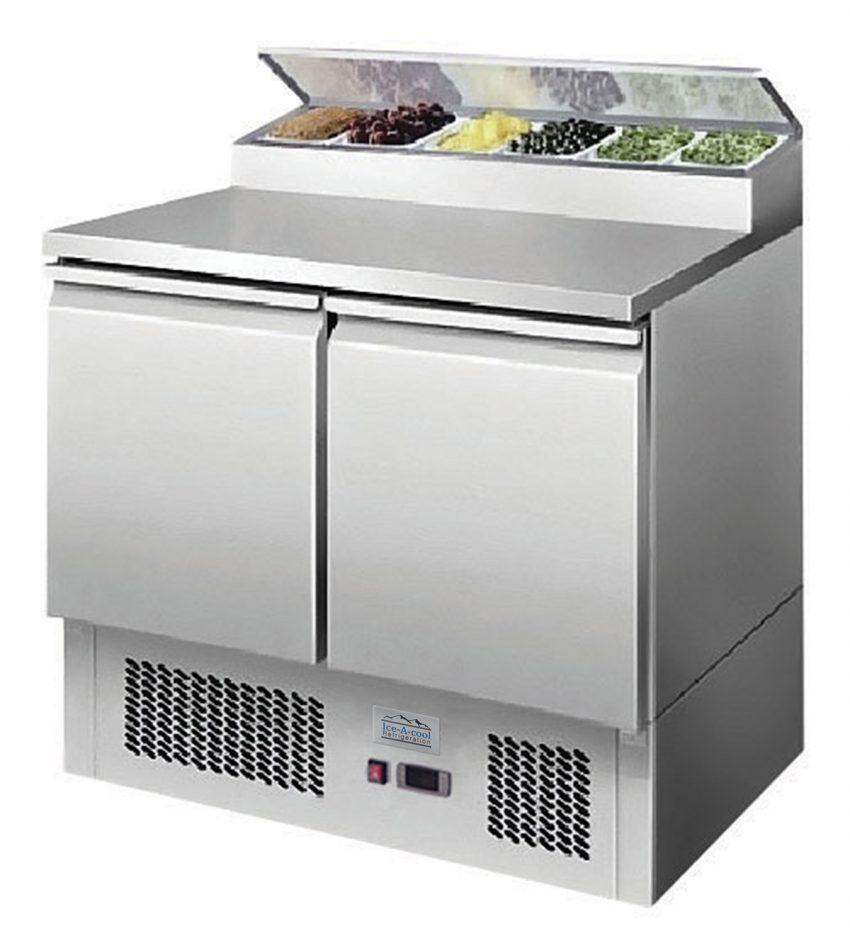 Two door saladette fridge